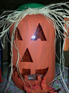 Big ole pickle jar, paint, tape, & a few extra touches. Crafts To Do, Fall Crafts, Holiday Crafts, Holiday Ideas, Fall Halloween, Halloween Crafts, Halloween Decorations, Halloween Party, Pickle Jar Crafts