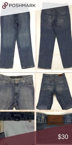 """Blue Jeans 👖34"""" Inseam Nautica Blue Jeans  Very Good Condition! Tag shows 38x32, BUT it is actually 38x34.  Measurements lying flat: Waist – 19"""", Hips – 24"""", Inseam - 34"""", Front Rise - 15"""", Back Rise – 17"""".  Please, review the photos. You will get the item shown. Smoke & pet free home. Nautica Jeans Relaxed"""