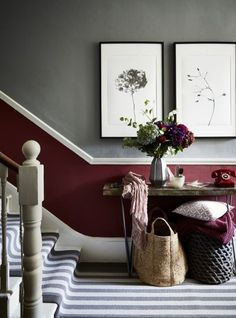 Make your hallway inviting by painting the lower half of your wall in a warm red hue with a sophisticated shade of grey above. Where to buy: Lower half of wall painted in Dragon's Blood matt emulsion, £38 for 2.5L, Fired Earth. Top half of wall painted in Lamp Room Gray estate emulsion, £39.50 for 2.5L, Farrow & Ball. Wool Blocstripe Moon Mineral Bloc runner, £53.40 a sq metre, Alternative Flooring. Table, £360, French Connection. Honey Honey print (left), £55; A Rose is a Rose is a Rose…