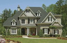 French Country Inspired Homes for a Rustic Look : Grey Roof Stony Wall Beautiful Garden French Country Inspired Homes