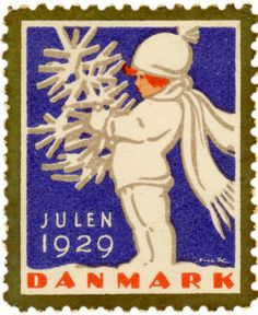 Danish Christmas Seal. I don't know when they started the seasonal themes for the seals- but they were already doing it by the 1920s, as seen here.