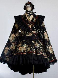 FASHION VISUAL KEI PUNK ROCK Kera fower printing KIMONO dress BLACK M-XL