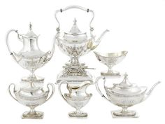 An American sterling silver six-piece tea and coffee service by Redlich & Co., New York, NY; retailed by Bailey, Banks & Biddle, Philadelphia, PA,  early 20th century