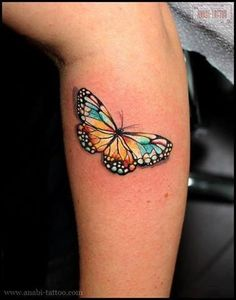 Excellent butterfly tattoo on arm