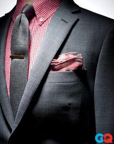 Gray  Red Gingham Suiting
