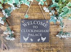 Cute Coop Sign. Got one for my chickens house, arrived today. Will be perfect on their home. <3