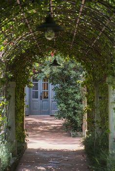 blue doors, garden archway