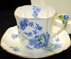 Royal Stafford England Flower Handle Tea Cup and Saucer Trio   eBay