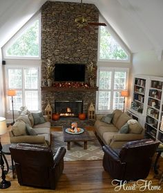 furniture layout Stone fire place face w/ windows on either side - perfect for dining room Finding Fall Home Tour Living Room With Fireplace, My Living Room, Living Room Decor, Dining Room, Fireplace Wall, Fireplace Windows, Small Living, Living Area, Living Room Furniture Layout