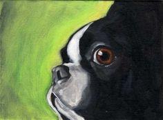 Boston Terrier impresión de pintura al óleo por rubenacker en Etsy