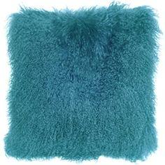 Mongolian Sheepskin Turquoise Blue Throw Pillow