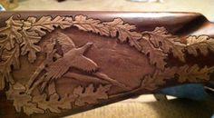 Gunstock Relief Carved -  Pheasant Cribbage Score Board (inprogress)
