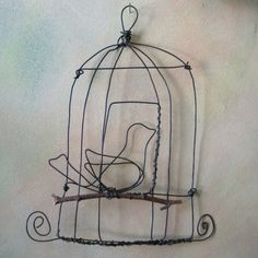 Birdcage Sculpture by birdfromawire on Etsy, $33.00