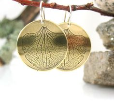 Hydrangea Petal Earrings Handmade Brass by tigerlillyshop on Etsy