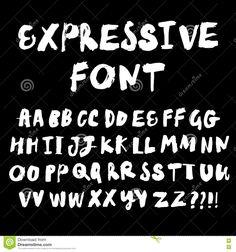 Brush Hand Drawn Expressive Vector Font Stock Vector - Image: 72288780