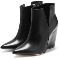 Rupert Sanderson High Wedge Booties ($935) ❤ liked on Polyvore featuring shoes, boots, ankle booties, wedge boots, leather booties, slouchy booties, slouch boots and blue wedge boots