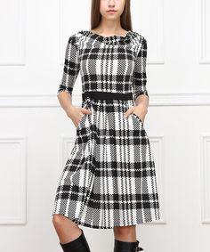 Love this Black & White Plaid Three-Quarter Sleeve Dress on #zulily! #zulilyfinds