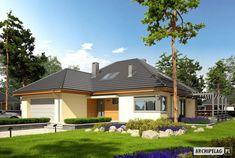 Projekt domu Astrid III G2 - Archipelag.pl My Home Design, House Design, Bungalow House Plans, Design Case, Malaga, Floor Plans, Flooring, House Styles, Outdoor Decor