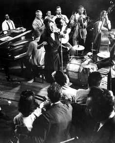 "life: ""Billie Holiday singing during a jam session in 1943 at Gjon Mili's studio in New York City. (Gjon Mili—The LIFE Picture Collection/Getty Images) #TBT #LIFElegends """