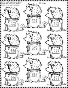 Need extra addition practice? These ten pages focus on three-digit addition. Math Worksheets, Math Resources, Math Activities, Math 2, 2nd Grade Math, Math Sheets, Teacher Tools, Math For Kids, Addition And Subtraction
