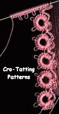 Cro-Tatting Patterns:   http://www.needlepointers.com/displaypage.aspx?ArticleID=39852&URL=http%3a%2f%2fwww.reocities.com%2fmountainhome1999%2f