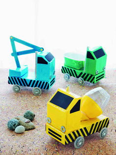 DIY Custom Construction Vehicle Craft for Kids. Fun recycled craft for pretend play. From book Project Kid: Crafts That Go! By Amanda Kingloff