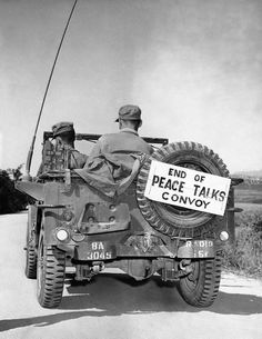 Korean War ~An army corporal at Panmunjom took this picture in Korea on Oct. 8, 1952 as the last jeep of the United Nations convoy departed for Munsan, after Korean truce talks at Panmunjom had been recessed indefinitely. Somebody had just put the identifying sign on the rear of the jeep. The picture has just become available on November 10, by air from Tokyo, Japan.