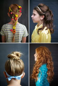 Cinderella, Merida, Rapunzel, and Belle — princess hair for your little princess.