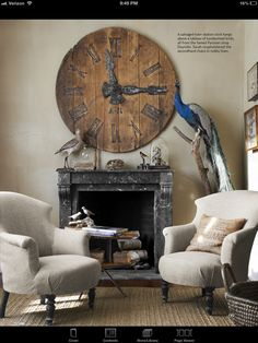 Mantel and huge clock