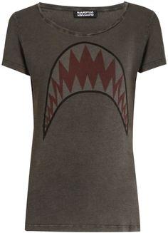 ROCKINS Shark-print short-sleeved cotton T-shirt Scarf Design, Printed Shorts, Shark, T Shirts For Women, Stylish, Tees, Cotton, Fashion, Moda