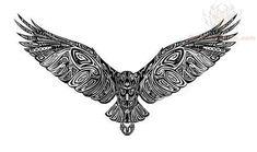 Black Tribal Falcon Tattoo Design