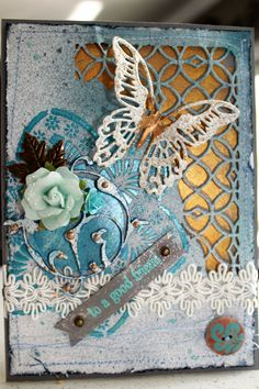 Mixed Media homemade card inspired by pins of Tim Holtz distress dies Tim Holtz, Homemade Cards, Mixed Media, Inspired, Inspiration, Biblical Inspiration, Diy Cards, Inspirational, Handmade Cards