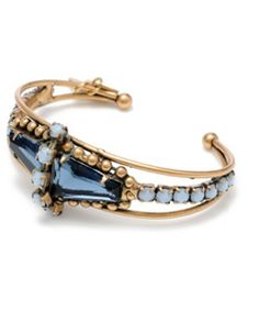 Vintage 14K gold, opal and London blue topaz cuff bracelet by 66 Sky Yesterday