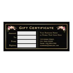 Gold Floral Black White Stripes Gift Certificate Custom Rack Cards