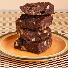 Low-Sugar and Whole Wheat Brownies with Walnuts (Grandma Willey's Brownie Recipe) [from KalynsKitchen.com] #LowSugar