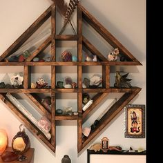 From Lovelifewood on Etsy: Custom Shelving / Wood Wall art – Originality See more from this shop on Etsy, a global marketplace of creative businesses. Woodworking Projects Diy, Diy Wood Projects, Furniture Projects, Home Projects, Diy Furniture, Crystal Shelves, Custom Shelving, Wooden Shelves, Wooden Pallet Projects