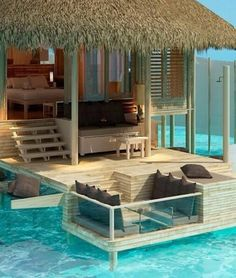 Bora Bora such a dream vacation. I love this little hut it is so cute!!
