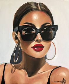 Lips Painting, Acrylic Portrait Painting, Painting Of Girl, Fashion Painting, Acrylic Painting Canvas, Portrait Art, Canvas Art, Canvas Size, Realistic Paintings