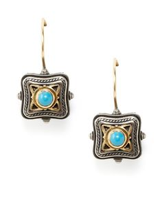 Konstantino Two-Tone & Turquoise Square Drop Earrings by Signed Pieces on Gilt