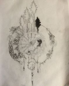 Compass Tattoo Design series part 1 WIP by Salix-Tree