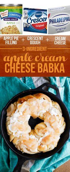 Pastel de manzana relleno de queso de la Media Luna + Masa + Crema = manzana queso crema Babka