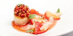 Dave Watts' strawberries and scallops recipe is a beautifully summery combination, prepared with care and infused with aged balsamic, basil and citrus flavours.