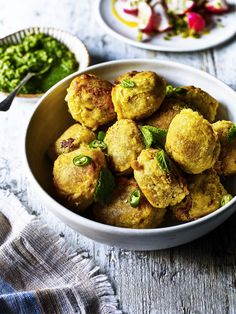 Rustle up these beautifully tasty Dhal Vada bites which find the spud in the comfort of Indian spices and textures, as well as a creamy mint sauce.