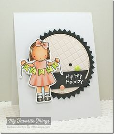Happy Banner stamp set and Die-namics, Fishtail Flags STAX Die-namics, Pinking Edge Circle STAX Die-namics, Stitched Circle STAX Die-namics, Grid Stencil - Barbara Anders #mftstamps