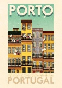 ✈ Porto Portugal Poster by Rui Ricardo, illustrator. We love the vintage-feel of all of his travel posters. Travel Illustration, Illustration Artists, Vintage Travel Posters, Vintage Postcards, Old Poster, Pub Vintage, Tourism Poster, Portugal Travel, Porto Portugal