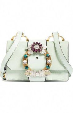 ba5293ed36f MIU MIU Jewel Buckle Calfskin Leather Shoulder Bag.  miumiu  bags  shoulder  bags