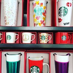 I can't get enough of these #colorful #mugs at #Starbucks - they're sure to be on our #holiday #giftguide (coming soon #ontheblog - post Remembrance Day) #coffee #travelmug #cup #ceramic #blogger #styledtosparkle #instafollow #instalikeforlike