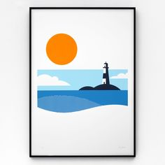 Size A2 (594mm high x 420mm wide). Lighthouse is a limited edition, hand-pulled screen print in four colours on 270gsm Colorplan. Each print is signed and numbered in an edition of 125, and supplied unframed.