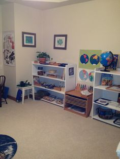 Our Montessori Homeschool Classroom: Life and Physical Science, Geography and Anatomy Shelves