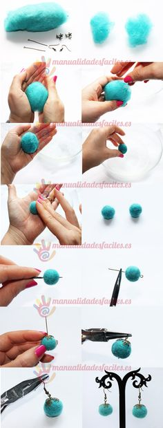 This Pin was discovered by Люс Felted Wool Crafts, Felt Crafts, Textile Jewelry, Fabric Jewelry, Wet Felting, Needle Felting, Felt Necklace, Felting Tutorials, Felt Ball